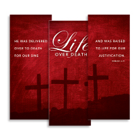 """Life Over Death"" Banner Triptych"