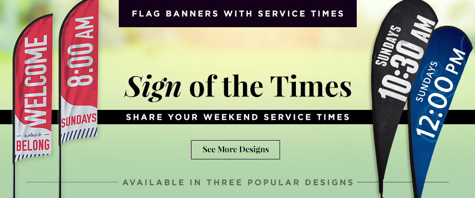 Flag Banners with Service Times