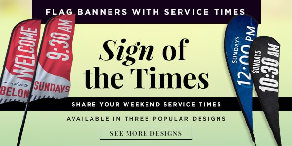 Share your service times with these flag banners