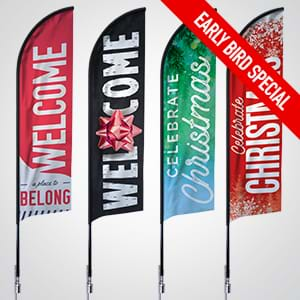 Attract More Visitors this Christmas with a FREE Feather Flag Banner & Stand*!