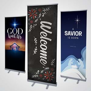Church Banners: Two sizes of retractable banners available in hundreds of designs