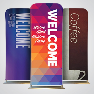 Church Banners: Two-sided sleeve banners are perfect for church lobbies and hallways