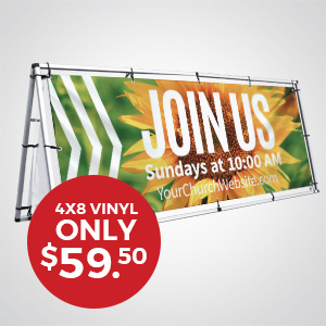 Church Banners and Signs: Five sizes of vinyl banners to promote your church and events