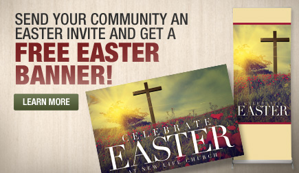 Get a FREE Easter Banner when you send postcards to your community