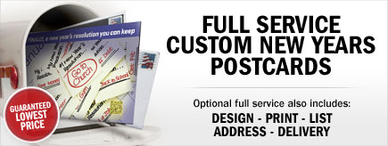 Full Service Custom new Years Postcards