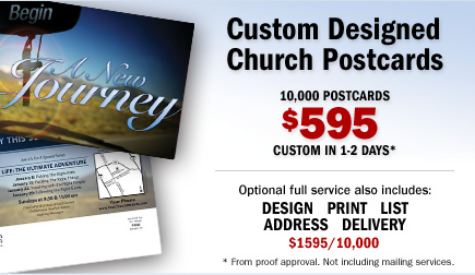 Custom Designed Church Postcards - 5000 Custom Only $495