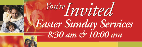 Banners, Easter, Spring Invited - 15, 5' x 15'