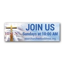Rugged Risen Cross Banner