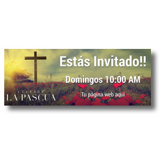 Celebrate Easter Cross Spanish Banner