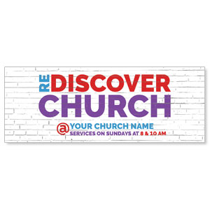 Brick Rediscover Church - 3x8 ImpactBanners