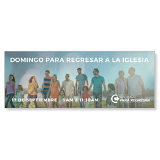 Back to Church Sunday People Spanish Banner