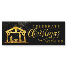 Black and Gold Nativity Banner