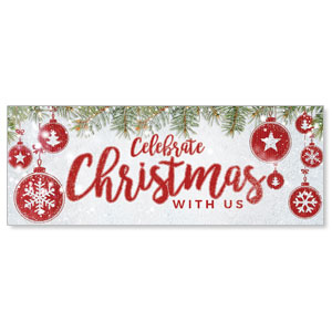 Celebrate Christmas Red - 3x8 Stock Outdoor Banners