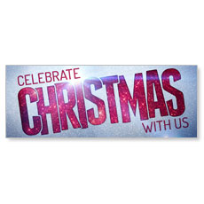 Christmas At Red Glitter Banner