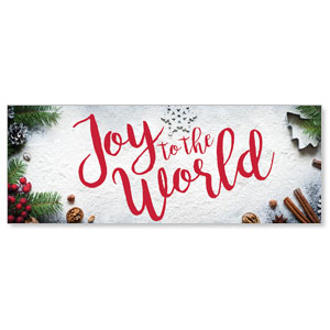 Joy To The World Snow - 3x8 Stock Outdoor Banners