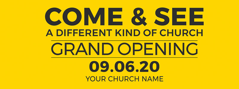 Banners, Events, Yellow Grand Opening, 3' x 8'