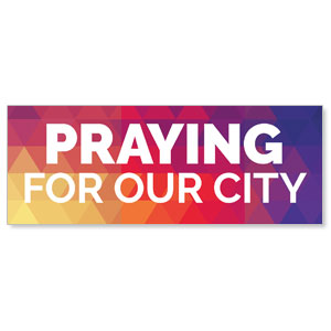Geometric Bold Praying For Our City Stock Outdoor Banners