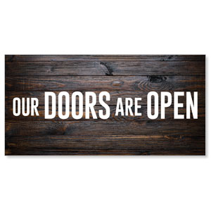 Dark Wood Doors Are Open Stock Outdoor Banners