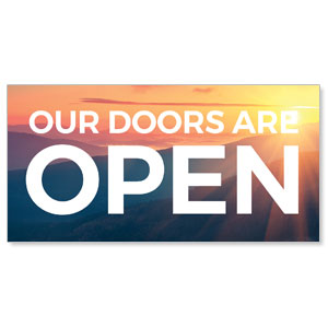 Sunrise Glow Doors Are Open Stock Outdoor Banners