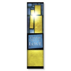 Stained Glass Blue Banner