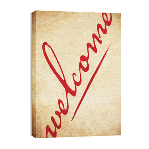 Red Script Welcome 24in x 36in Canvas Prints