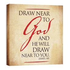 Red Script James 4:8 Wall Art