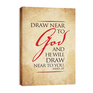 Red Script James 4:8 24in x 36in Canvas Prints
