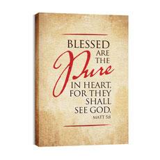 Red Script Matt 5:8 Wall Art