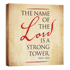 Red Script Prov 18:10 Wall Art