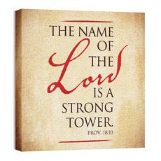 Red Script Prov 18:10 Wall Art