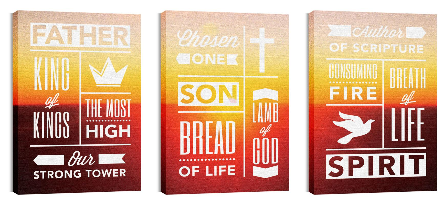 Phrases Trinity Triptych Canvas Print - Church Wall Art - Outreach ...