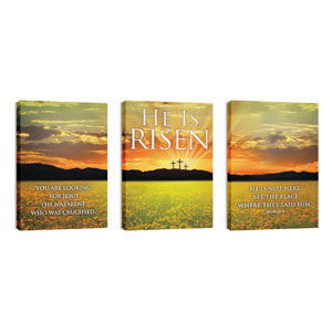 He is Risen Triptych  24in x 36in Canvas Prints