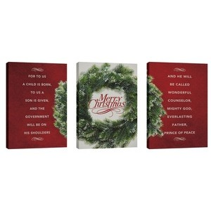 Merry Christmas Wreath Triptych Wall Art