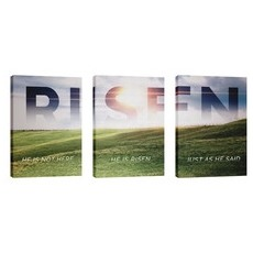 Risen Green Hill Triptych Wall Art