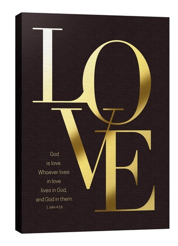 Wall Art, Scripture, Gold Letters Love, 24 x 36