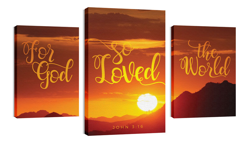 Wall Art, Scripture, John 316 Sunrise, 30 x 50
