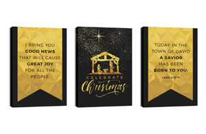 Black and Gold Nativity 24in x 36in Canvas Prints