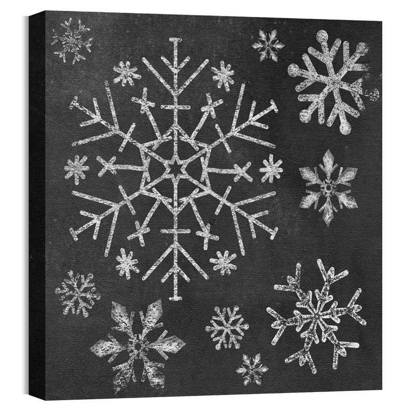 Wall Art, Christmas, Mod Chalk Snowflakes, 24 x 24