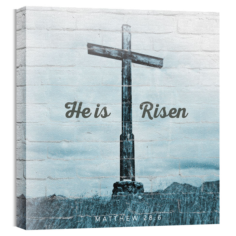 Wall Art, Easter, Mod He Is Risen Cross, 24 x 24