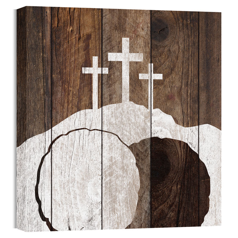 Wall Art, Easter, Mod Three Crosses Tomb, 24 x 24