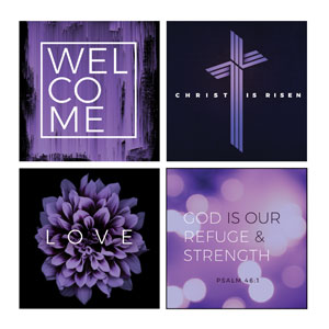 Mod Welcome Purple Set Wall Art