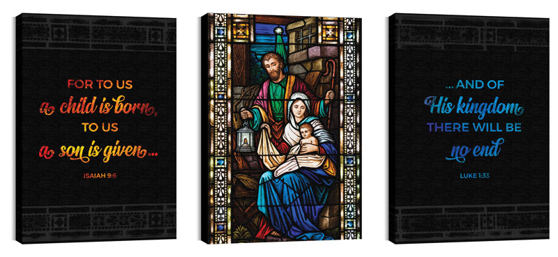 Christmas Stained Glass Scripture Canvas Print - Church Wall Art ...