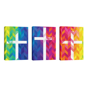Bright Chevron Crosses 24in x 36in Canvas Prints
