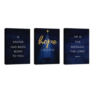 Christmas Star Hope is Born Triptych 24in x 36in Canvas Prints