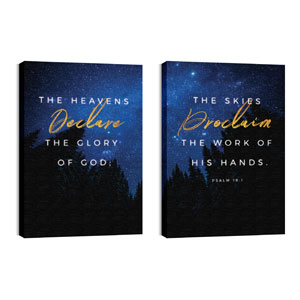 Night Sky Gold Script Psalm 19 24in x 36in Canvas Prints