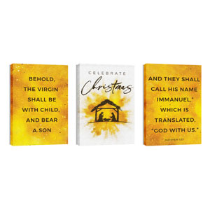 Gold Powder Creche Triptych 24in x 36in Canvas Prints