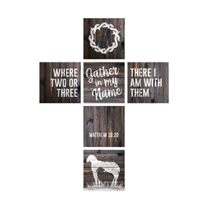 Mod Dark Wood Cross Set 24 x 24 Canvas Prints