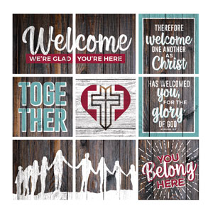 Mod Dark Wood Welcome Set 24 x 24 Canvas Prints