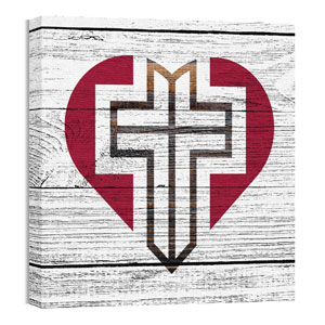 Mod Heart Cross 24 x 24 Canvas Prints
