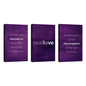 Real Love Crown Triptych 30in x 50in Canvas Prints